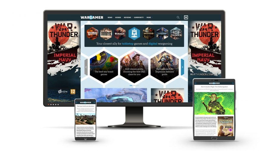 Wargamer welcome feature main image multi device screenshots showing Wargamer site