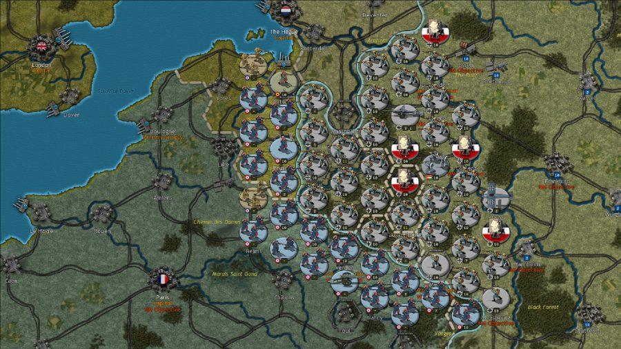 German and French divisions facing off along the western front