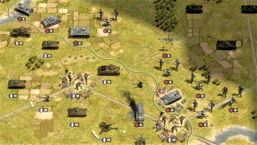 Order of Battle WW2 Allies Defiant review screenshot showing french and german units