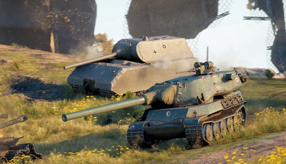 Two tanks in World of Tanks on Steam battling on a field
