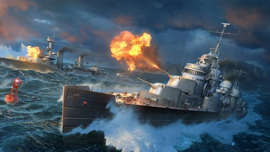 World of Warships mods a large battleship in the ocean fires its main cannon, causing a huge explosion