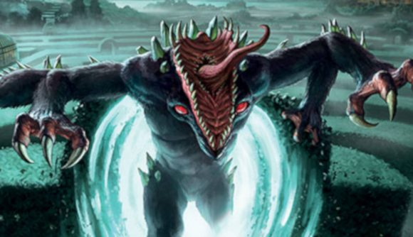 A monster with sharp teeth and protruding tongue from the Arkham Horror expansion jumping out of a portal