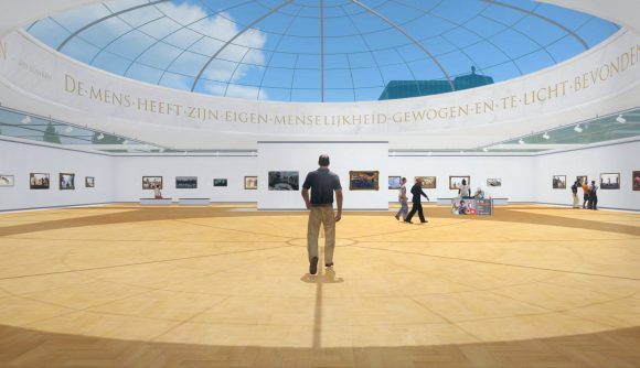 A man in a clean, white art gallery from Arma 3 DLC Art of War
