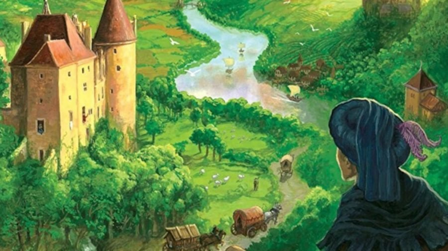 A picturesque view of medieval France from the cover of best historical board game Castles of Burgundy showing a castle, river and lush green fields