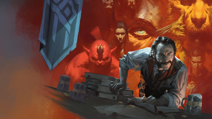 Best tabletop RPGs guide dungeons and dragons Tales from the Yawning Portal artwork showing barkeeper and faces