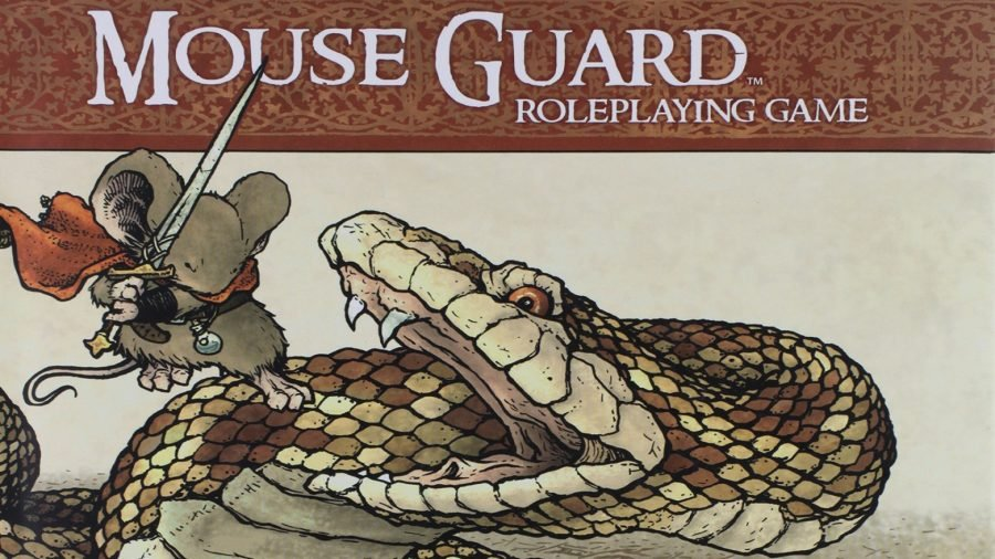 Best tabletop RPGs guide Mouse Guard artwork showing a Mouse Guard with a sword fighting a giant snake