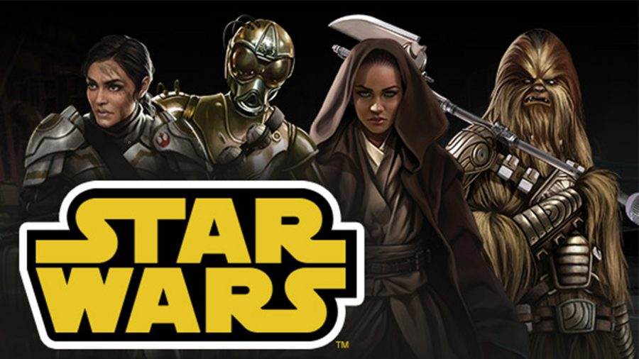 Best tabletop RPGS guide Star Wars roleplaying game artwork showing the Star Wars logo and characters including a droid and a wookiee