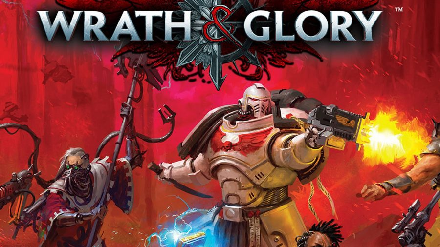 Best tabletop RPGs guide Warhammer 40K Wrath and Glory artwork showing a White Scar space marine and an Adeptus Mechanicus tech priest