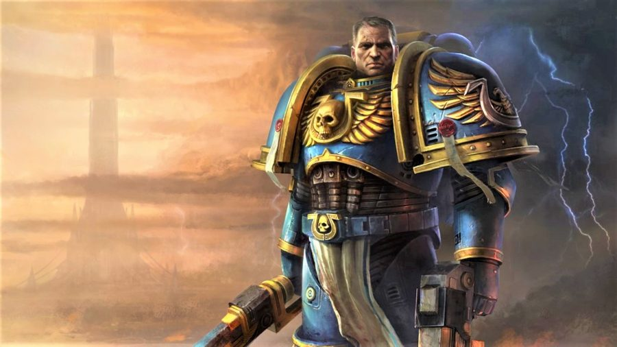 Best Warhammer 40K videogames Space Marine artwork showing captain Titus