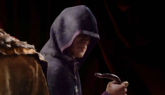 A hooded man holding a snake in Crusader Kings 3 mods muder schemes