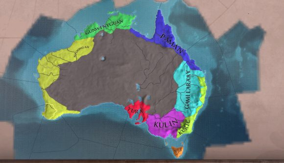 Map of Australia with colourful provinces in Europa Universalis 4 Aboriginal Australia update