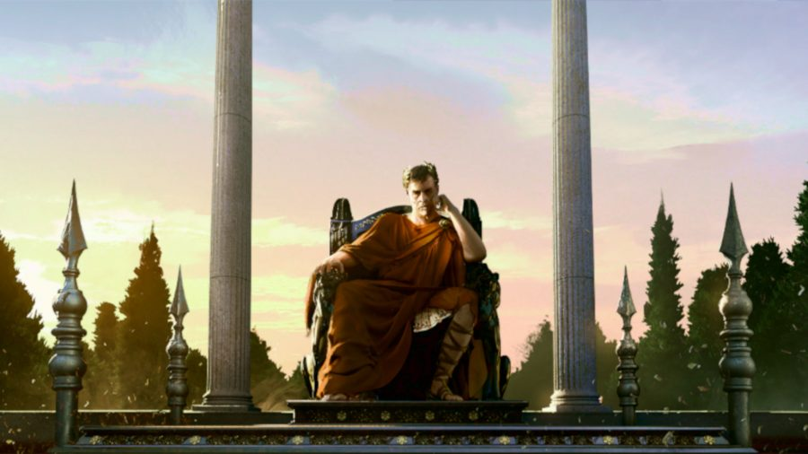Roman emperor sitting on a throne in Imperator Rome 2.0 Marius update review against a still sky