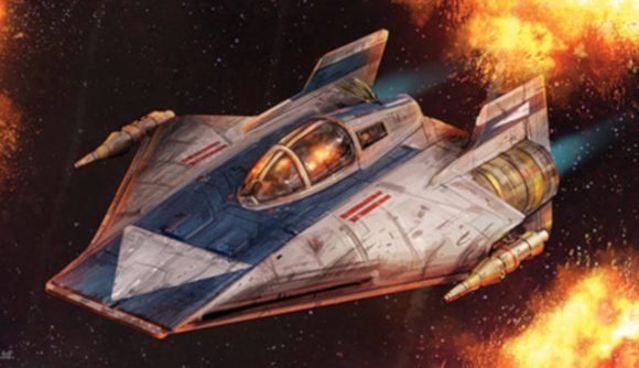 An A-wing starfighter from Star Wars X-wing Phoenix Squadron flying past explosions against the backdrop of space