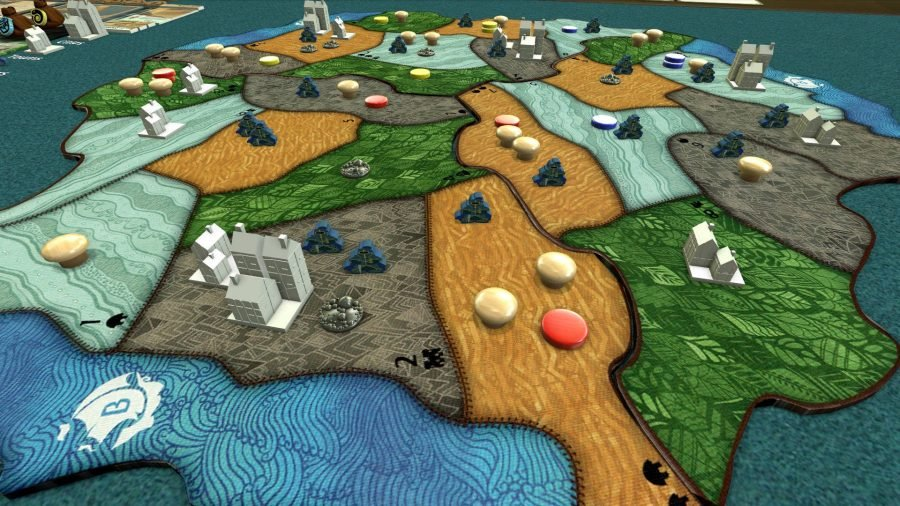 Token and miniature buildings arranged on a board in Tabletop Simulator game Spirit Island, with the island split into provinces