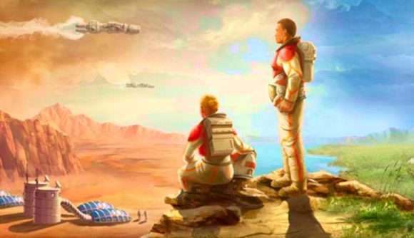 A pair of astronauts looking out on the wasteland of mars in Terraforming Mars: Ares Expedition cover art