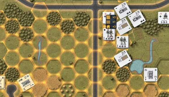 Valor and Victory WW2 wargame pc reveal main image showing unit counters and glowing hex borders