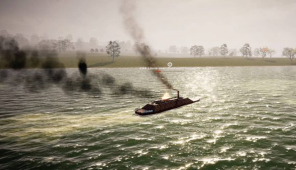 A boat smoking on a river in victory at sea ironclad early access