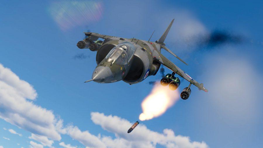 A War Thunder jet plane diving downwards while firing a missile