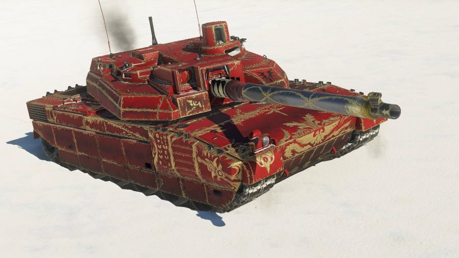 A red tank highlighted with gold leaf using a custom War Thunder skin