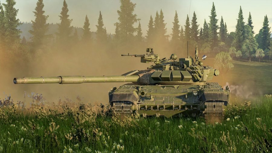 A War Thunder tank driving across a field, smoking rising behind it, with its main cannon aimed