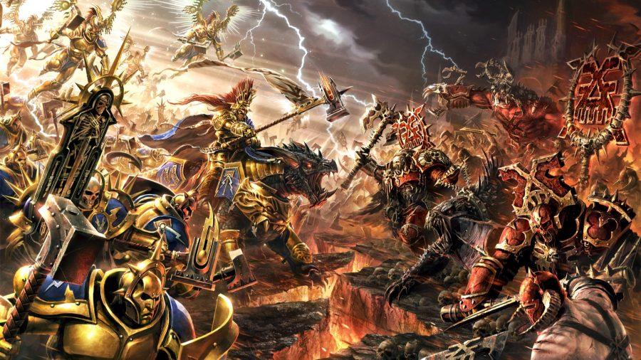 Warhammer Age of Sigmar armiess guide main image showing stormcast eternals in a battle with Chaos forces