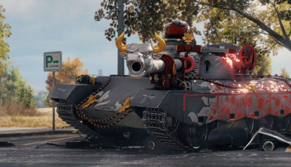 A tank from World of Tanks Lunar New Year update with lots of trinkets and a metal bull's head on its main cannon