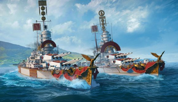 A pair of battleships side by side in World of Warships Italian battleships update piercing the water