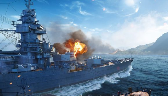 A ship firing a shell in world of warships konig offer