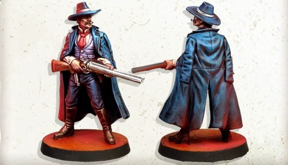 Zombicide Undead or Alive miniatures game Kickstarter launch photo showing Doc Holliday model painted