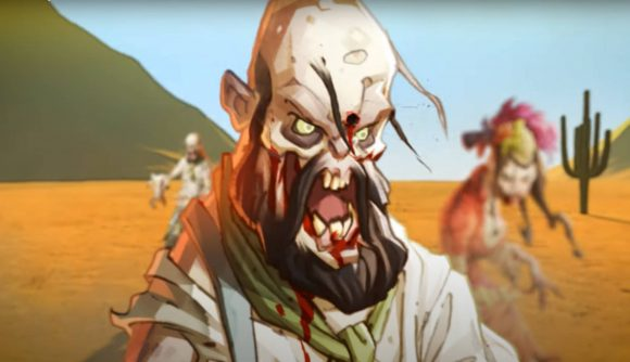 A zombie with a bullet wound in its forehead from the trailer for zombicide undead or alive
