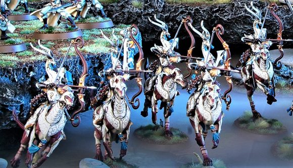 Photo showing Age of Sigmar Lumineth Realm Lords Hurakan Windchargers models