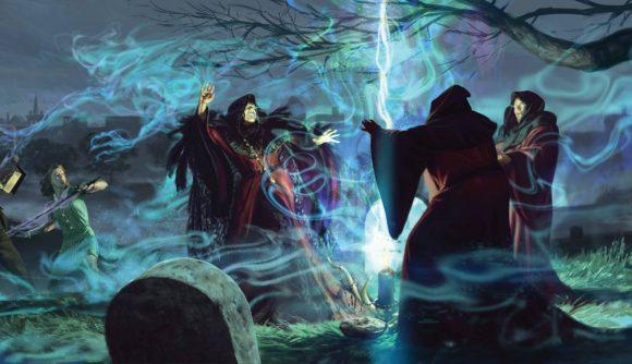 Men in cloaks standing around a cauldron in Arkham Horror Card Game