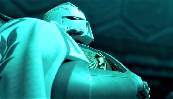 A screenshot from the Astartes animated Warhammer 40,000 short film featuring a retributor space marine in a cloak