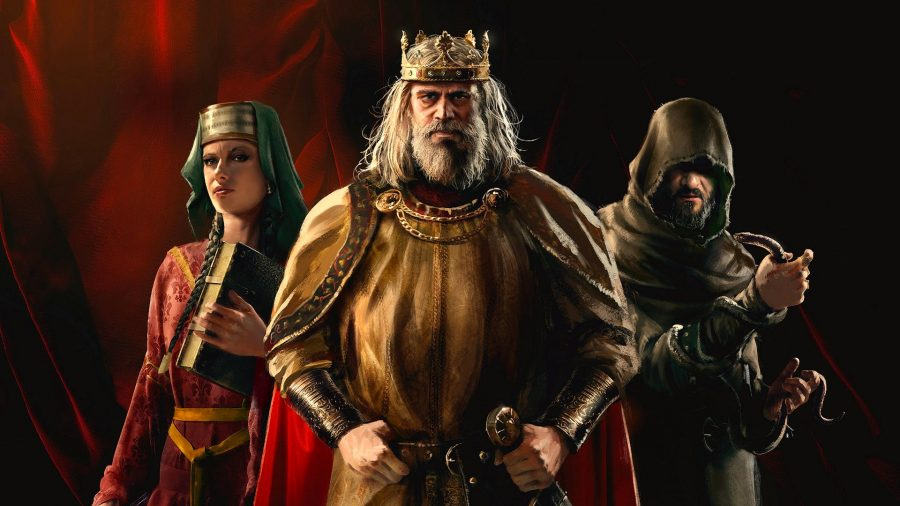 An aged King from Crusader Kings 3 standing next to a hooded figures and women, in front of red curtains