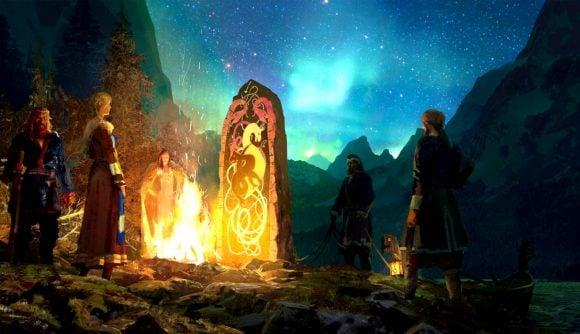 Men and women gathered around a Viking runestone in Crusader Kings 3