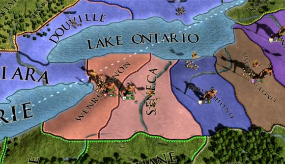 Screenshot of Europa Universalis IV Leviathan DLC gameplay with a portion of the North America map
