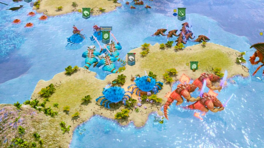 An assortment of magical crabs and lizards from Fantasy General 2 Evolution on a coastline