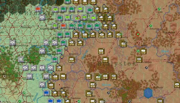 Hex and counters from Gary Grigsby's War in the East 2 showing a frontline assault