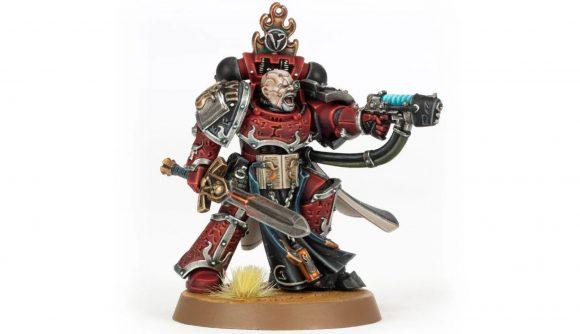 Photo of the Forge World model for a Horus Heresy Word Bearers Legion Praetor in power armour, helmetless