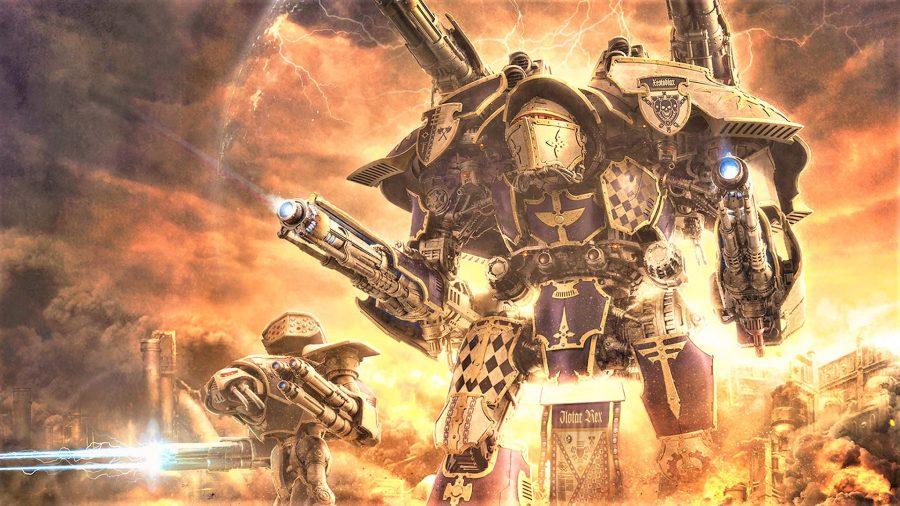 Warhammer artwork showing battle titans in the Horus Heresy era