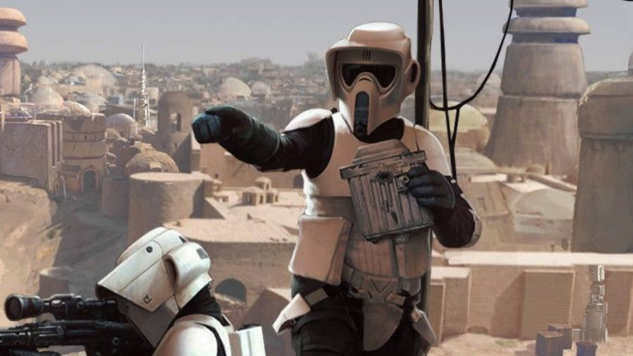 Two Imperial Scout Troopers from Star Wars: Legions expansions, clad in white armour, overlooking a desert settlement holding sniper rifles