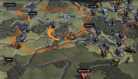 A orange supply line in Unity of Command 2 Barbarossa expansion