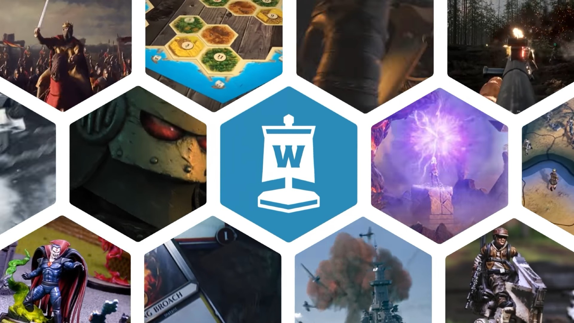 a custom Wargamer brand graphic showing the Wargamer logo and hex-shaped screenshots of various digital and tabletop games