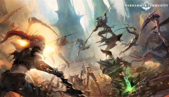 Warhammer Community artwork showing Drukhari troops fighting