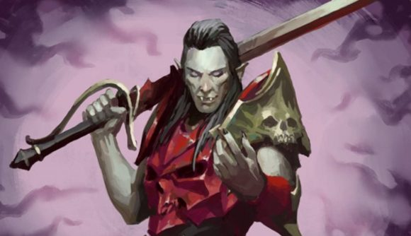 Soulblight lord from Warhammer Underworlds holding a sword against a purple background
