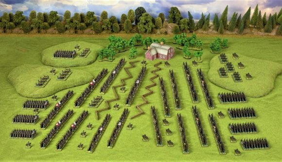 Photo showing the models and terrain from Warlord Games' Epic Battles American Civil War starter set