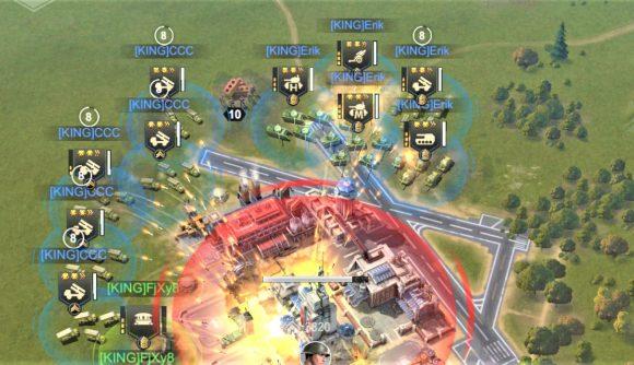 Screenshot of mobile war game Warpath showing a base under attack