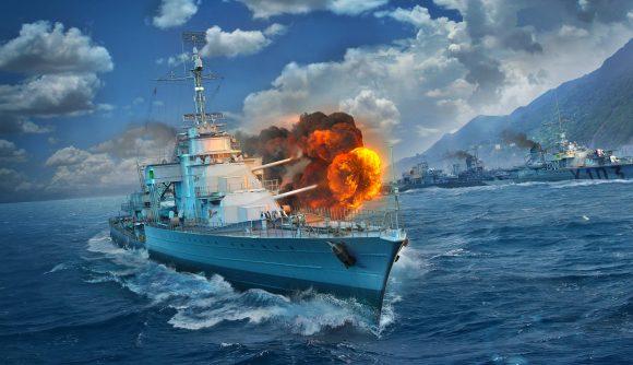 A battleship from World of Warships firing its main battery