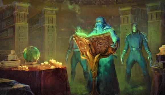 Artwork from the Achtung! Cthulhu RPG showing nazis in a ritual
