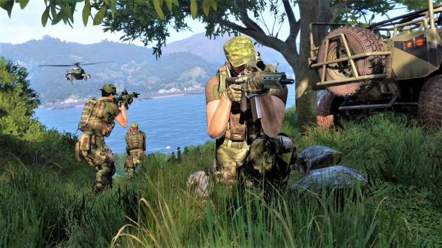 Screenshot from Arma 3 showing riflemen aiming and a jeep